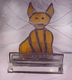 Buisness cardholder stained glass wow cat stained glass business cardholder leaded stained glass unique design by johnna copywright2006 this cat has some wild whiskers colourmoves